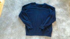 Navy blue v-neck jumper for sale