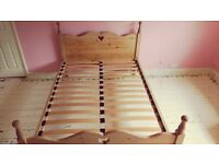 Antique 5' pine hand made double bed.