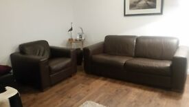 Furniture Village Italian Brown Leather Two Seater Sofa and Chair