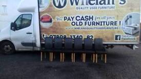 6 heavy black leather chairs £20 a piece