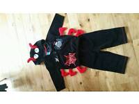 Baby toddler 9-12 Halloween outfit costume spider incy wincy