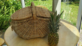 Largish wicker basket with two hinged lids