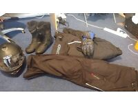 Motorbike clothing - helmet, jacket, gloves, trousers, boots, ONLY USED ONCE SO BRAND NEW CONDITION