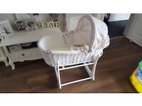 Girls white Moses basket with pink details, white rocking stand