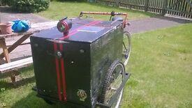 Trade bike Trike, 12v electrics (not motor powered), solar charging. Great advertising tool.