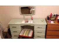 Beautiful Hand-Decorated Upcycled Dresser Vanity with Matching Stool