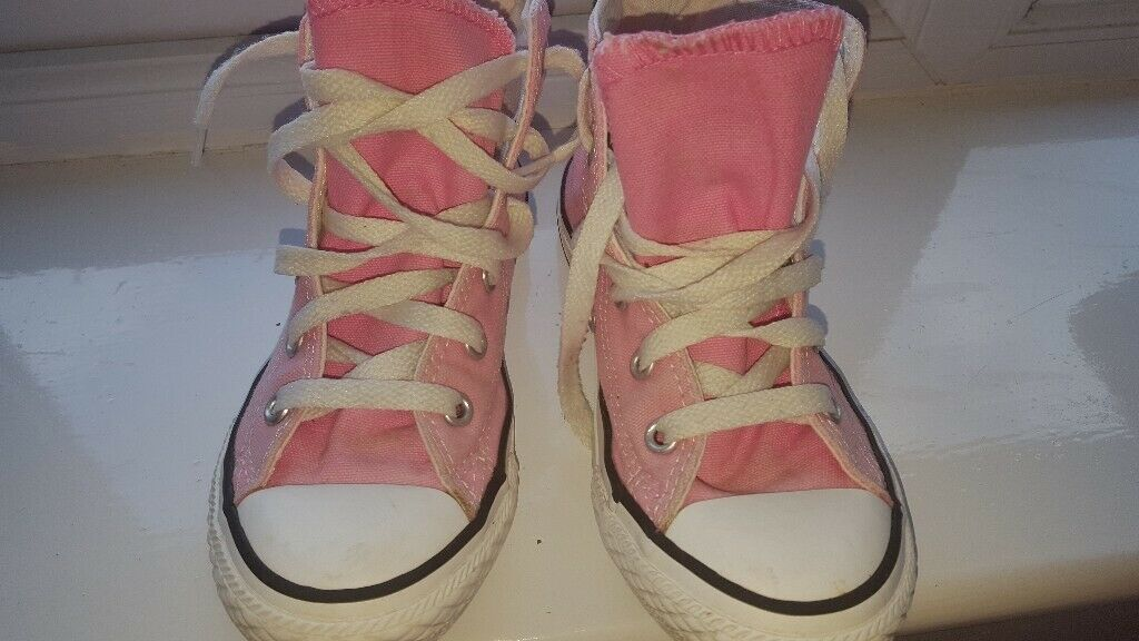 61434d51bbb50c Pink converse all star hi top trainers girls UK size 12