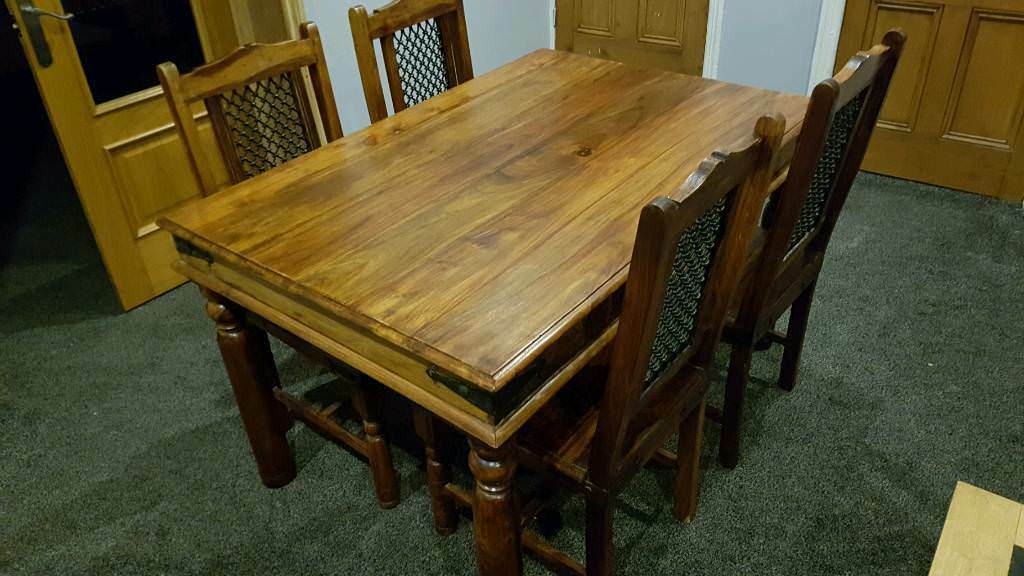 Indian Sheesham Dining Table And 4 Jali Chairs