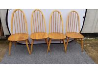 Ercol Dining Chairs winsor 4 blonde quaker chairs. RETRO VINTAGE