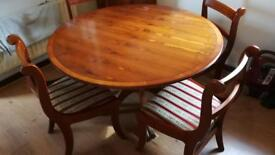 Queen Anne Table and 4chairs with music cabinet