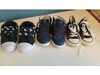 3 pairs toddler shoes NEW sizes 5-7 including Converse trainers