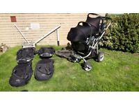 Icandy Apple 2 Pear double tandem twin buggy stroller with car seats