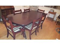 Dining table & 6 chairs and sideboard.