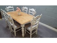 Lovely 6ft Table and six chair set - Bespoke