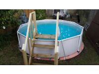 Swimming pool 10ft, filter pump, cover , handmade wooden stairs