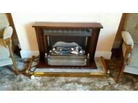 Electric fireplace with Marble and Brass surround