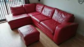 DFS RED LEATHER CORNER SOFA BED WITH FOOTSTOOL IN VERY GOOD CONDITION!!!