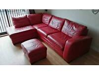 DFS red leather corner sofa bed