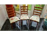3 matching refurbished dining chairs with newly recovered seats this week