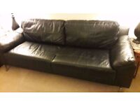 Three Seater Large Leather Sofa With Chrome Legs