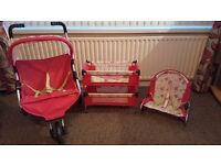 Mamas and papas twin double baby doll set. Pram/buggy/pushchair. Cot/bunk bed. Rocker/bouncer.