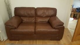 Brown leather sofa & large armchair (Gillies) for sale. Excellent condition.