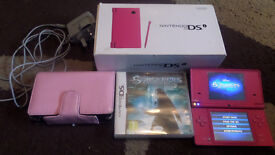 For sale pink dsi console and game