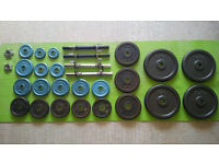 CAST IRON WEIGHTS 83,5KG and BENCH + 2 sets of DUMBBELLS BARS and 2 LOCKING RINGS