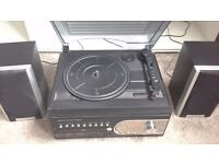 Record player with CD and MP3 capability plus FM radio
