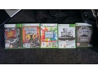 Drumkit, 2 guitars, dj table and 5 games for xbox 360