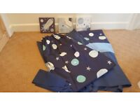 Boys Space themed pencil pleat cutains, tie backs and matching canvas prints