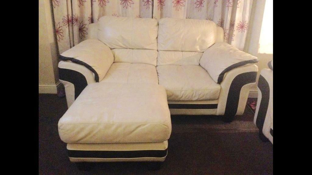 DFS modern leather sofa and pouffe