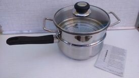Judge saucepan and steamer set, 2 pieces. Stainless steel, unused