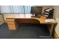 Large corner desk and matching drawer unit