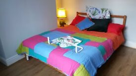 Teak Stained and Varnished wooden Ikea Double Bed Frame Almost New Under Bed Space