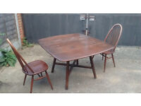 Rare Ercol vintage drop leaf table and 2x Quaker chairs - refurbishment project