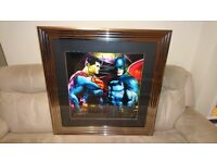 PATRICE MURCIANO BATMAN vs SUPERMAN LIMITED EDITION FRAMED LIQUID ARTWORK LIMITED EDITION No 19/100.