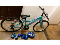 "Apollo Kinx Junior Girls Hybrid Bike - 24"" WITH FREE elbow, knee pads, gloves and helmet."