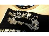 3 silver charm bracelets