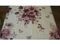 Cream and Purple Floral Curtains with Butterfly Design