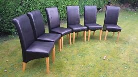 6 Faux Leather Dining Chairs