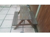 Childrens wooden picnic bench