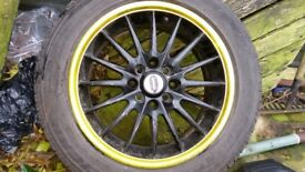 "Team Dymamics 15"" black and yellow alloys £250 ONO"