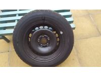 VW STEEL WHEEL AND EXCELLENT DUNLOP 205 60 15 TYRE.