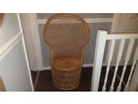Vintage 70s rattan peacock back chair