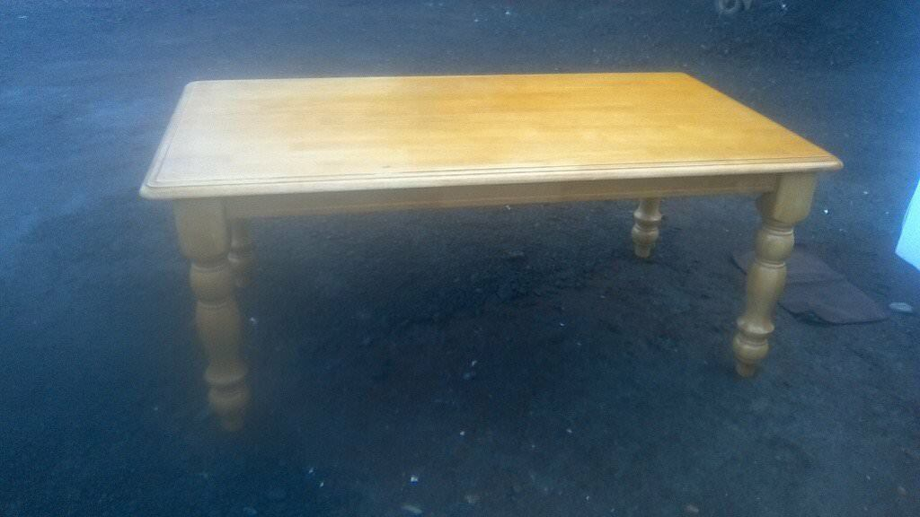 Stunning large solid pine banqueting style sculery table, sits eight