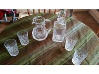 Royal BRIERLEY CUT Jug; 4 Tumblers; Decanter.