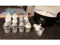 Tommee tippee steriliser and bottles
