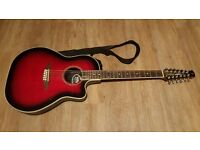 Vintage Synergy Series bowl back in Ruby Redburst: 12 string electro acoustic in great condition