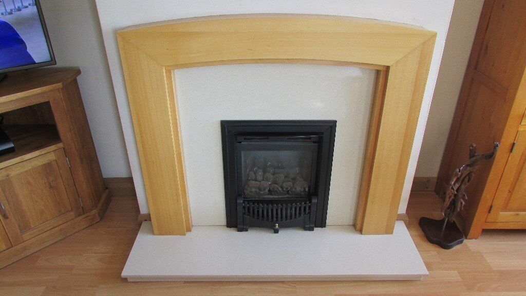 Unusual Curved Oak Fireplace With Marble Backplate